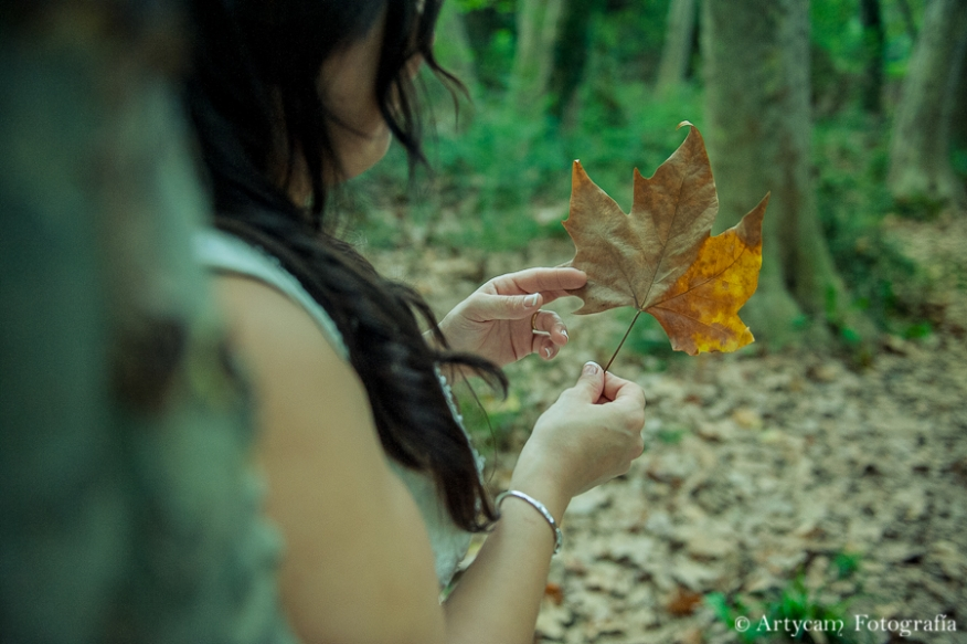 novia hoja platanero bosque postboda otoño romanticismo artycam documental