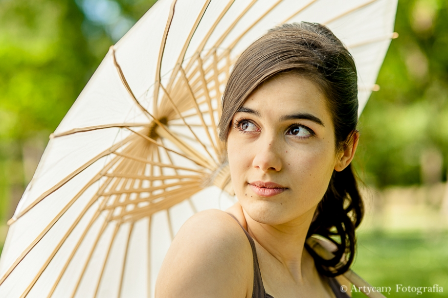 sesión chica  paraguas japones chino campo colorido belleza